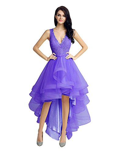 Belle House Lace High Low Cocktail Party Gown Lace Prom Homecoming Dresses Purple
