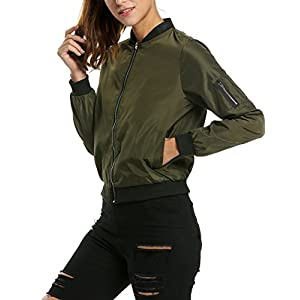 Zeagoo Womens Classic Quilted Jacket Short Bomber Jacket Coat, # Army Green, X-Large, # Army Green, X-Large