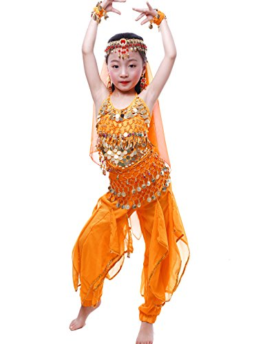 Astage Girls Oriental Belly Dance Sets Costumes All accessories Orange S(Fits 3-5 Years) -