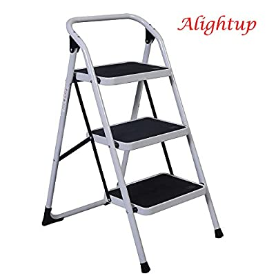 ALightUp Foldable Three Step Ladder, Portable Lightweight Short Handrail Iron Folding Stool Ladders 330 Lb Capacity
