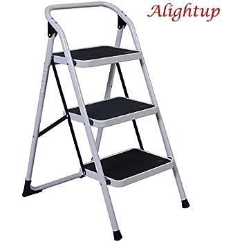 Alightup Foldable Three Step Ladder Portable Lightweight