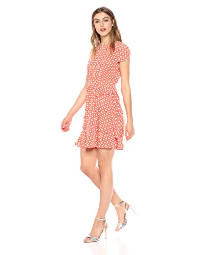 Wild Meadow Women's Flowy Heart Print Dress L Coral (Meadow Heart)