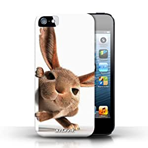 KOBALT? Protective Hard Back Phone Case / Cover for Apple iPhone 5/5S | Peeking Bunny Design | Funny Animals Collection