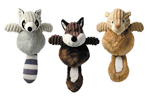 Country Crew Dog Toy Plush Corduroy - Fox Raccoon Squirrel or All Three Toys 12