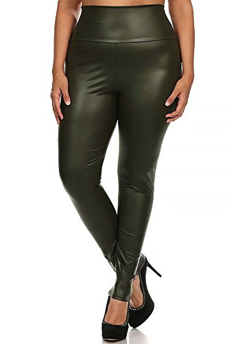 World of Leggings® Matte High Waisted Faux Leather Leggings - Plus Size Women's XL Olive