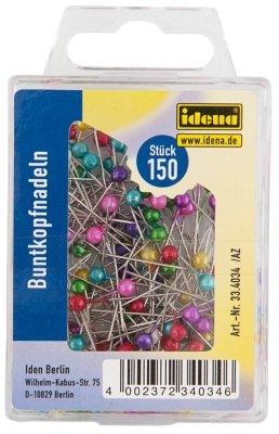 Idena 334034 - Buntkopfnadeln, 150 Stück, rund