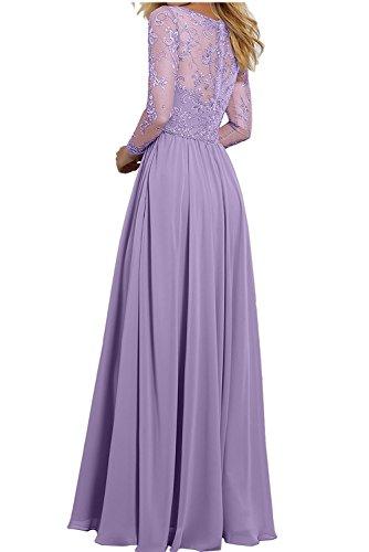 Partykleider V Gruen Langarm Ausschnitt Festlichkleider Charmant Brautmutterkleider Abendkleider mit Minze Lang Spitze Damen 7R0EwA0x