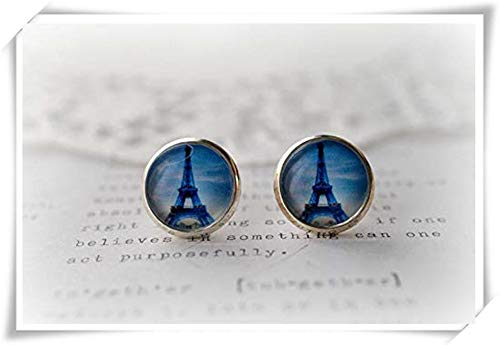 Dusk Eiffel Tower - Pink rose Round Glass Blue, Dusk Eiffel Tower Stud Earrings, Dome Glass Jewelry, Pure Hand-Made