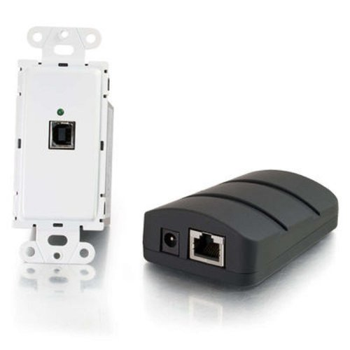 C2G 53878 TruLink USB 2.0 Over Cat5 Superbooster Wall Plate Transmitter to Dongle Receiver Kit