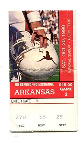 1990 Texas Longhorns v Arkansas Razorbacks Football Ticket 10/20 44529RG