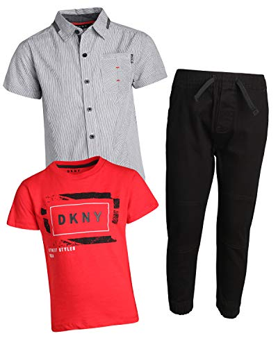 DKNY Little Boys 3-Piece Pant Set with Button Down Shirt, Tee and Jogger, Phantom, Size 6' Dkny Button Down Shirt