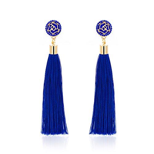 Gudukt Women Thread Tassel Dangle Earrings Bohemian Statement Drop Earrings Eardrop Jewelry ()