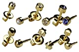 Ear Piercing Earrings 6 Pairs Of 4mm 16ga Gold Studex Studs Hypoallergenic