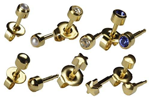 Ear Piercing Earrings 6 Pairs Of 4mm 16ga - 24kt Gold Earring Studs