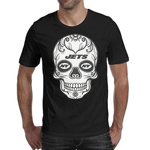 Mens-Sugar-Printed 100% Cotton Tshirt Cozy Black for Football ()