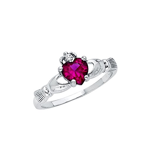 Wellingsale Ladies 925 Sterling Silver Polished Rhodium Simulated July Ruby Color Heart CZ Irish Celtic Claddagh Ring, AAA Grade Highest Quality - Size 7
