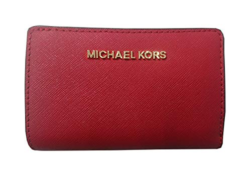 Michael Kors Jet Set Travel Saffiano Leather Bifold Zip Coin Wallet (Scarlet Red)