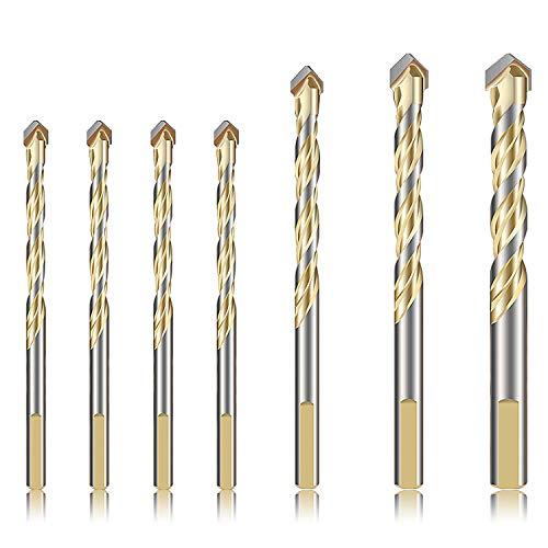 7-Piece Drill Bits Set for Metal Concrete Tile Glass Plastic Wood, YUERSEAK -
