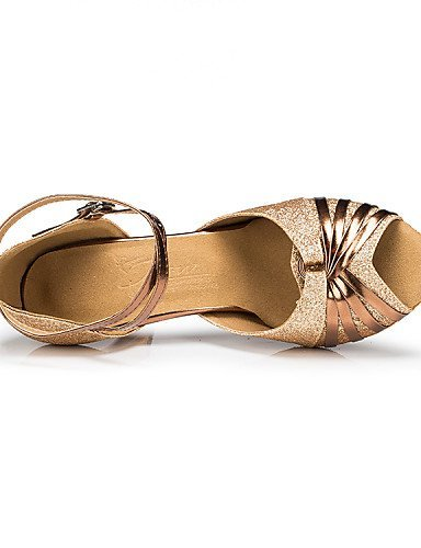 ShangYi Chaussures de danse ( Autre ) - Non Personnalisables - Talon Bobine - Satin / Paillette - Latine , gold-us8.5 / eu39 / uk6.5 / cn40 , gold-us8.5 / eu39 / uk6.5 / cn40