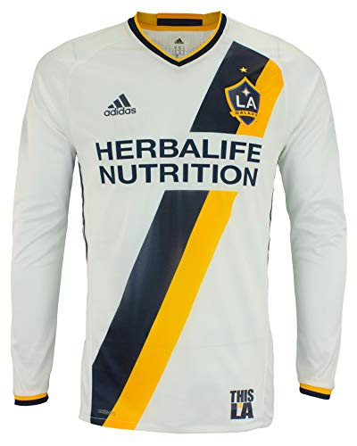 adidas Men's MLS Cllimacool Authentic Long Sleeve Jersey, Los Angeles Galaxy Medium