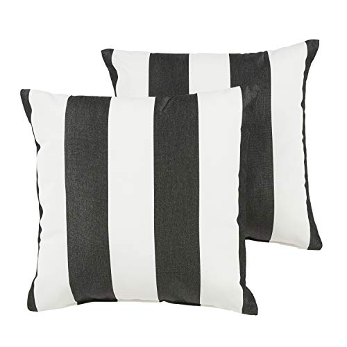 1101Design Sunbrella Cabana Classic Decorative Indoor/Outdoor Square Throw Pillows, Perfect for Patio Décor, (Black & White Stripe 16