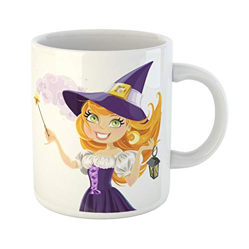 Semtomn Funny Coffee Mug Red Halloween Cute Young Witch Magic Wand and Flashlight 11 Oz Ceramic Coffee Mugs Tea Cup Best Gift Or Souvenir ()