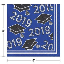 Class of 2019 Graduation School Spirit Colbalt Blue, Black & White Party Tableware & Decorations for 36 Guests by Party Creations (Image #5)
