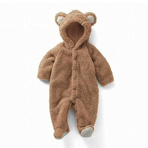 Baby Rabbit Ear Hooded Jumpsuit, Weiyun Newborn Infant Boy Girl Romper Clothes (3Months, Brown) (Stripe Knit Layette)