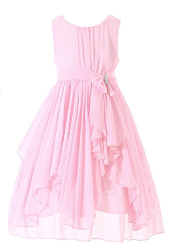- Bow Dream Flower Girl Dress Bridesmaid Ruffled Chiffon Blush Pink 10