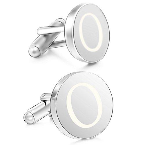 MOWOM Silver Tone 2PCS Rhodium Plated Cufflinks Initial Letter Capital Alphabet O (New Rhodium Cufflinks Cufflink)