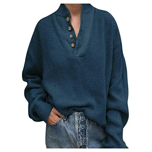 Amlaiworld Women Plus Size Sweater Knitted Button Pullover Blouse V-Neck Long Sleeve Top Tunic Shirt Blue