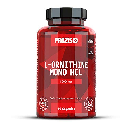 Prozis 100% Pure L-Ornithine 60 Capsules 1000mg - Promotes Human Growth...