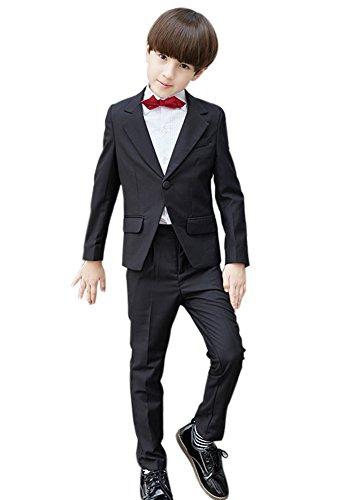 SK Studio Boys' 5 Pieces Wedding Solid Color Dress Formal Suits Black by SK Studio