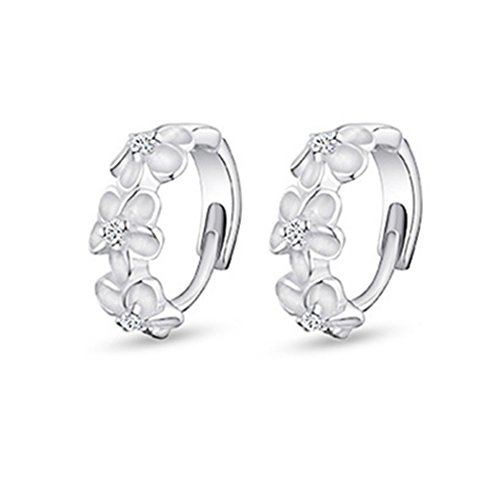 [Time Pawnshop Camellia Sterling Silver Simple Lady Hoop Earrings] (Womens Material Pop Star Costumes)