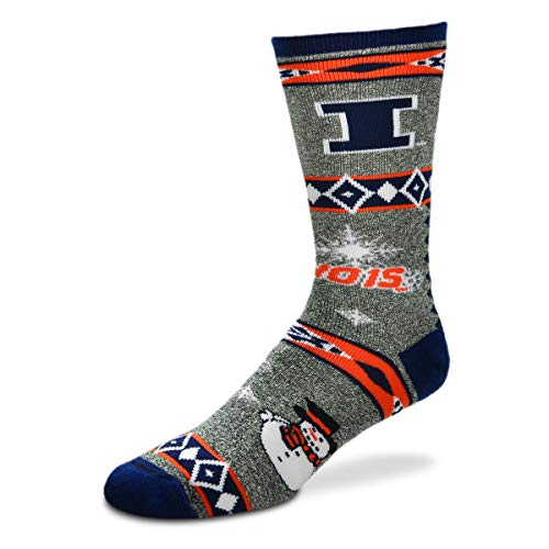 For Bare Feet NCAA Ugly Christmas Holiday Snowman Socks-Illinois Fighting Illini-Large