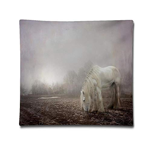 Jidmerrnm Halloween Spooky Fog Horse Winter Cotton Linen Throw Pillow Cover Shell for Couch Sofa Home Decoration 18 X 18 Inches -