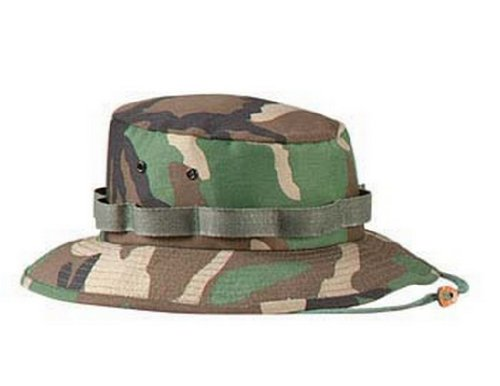 Mens Military Hat - Jungle Hat, Woodland Camo, X-Small by Rothco