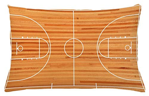 Boy's Room Throw Pillow Cushion Cover, Standard Floor Plan on Parquet Backdrop Basketball Court Playground, Decorative Accent Pillow Case, 26 X 16 inches Pale