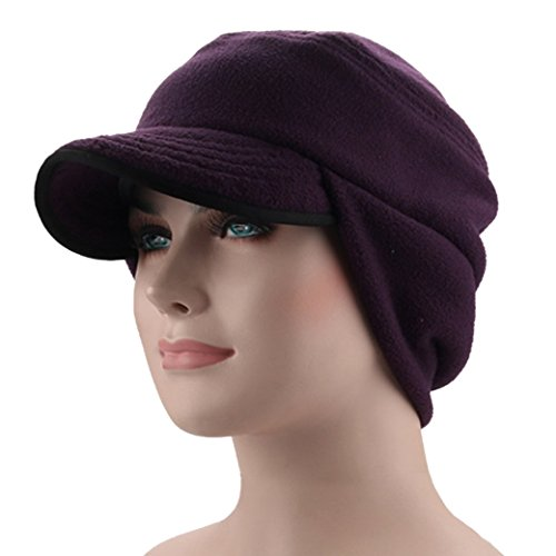 Warm Winter Hats Thick Windproof Earflap Wool Cap with Visor Dark Purple