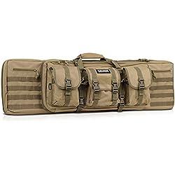 Savior Equipment American Classic Tactical Double Long Rifle Pistol Gun Bag Firearm Transportation Case w/Backpack - 55 Inch Flat Dark Earth Tan