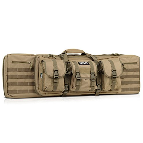 Savior Equipment American Classic Tactical Double Long Rifle Pistol Gun Bag Firearm Transportation Case w/Backpack - 55 Inch Flat Dark Earth Tan