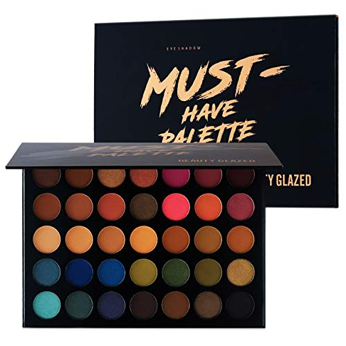 Beauty Glazed Make Up Eyeshadow Palette 35 Colors Blendable Chunky Pigmented Matte and Shimmer Pop Colors Eye Shadow Powder Waterproof Eye Shadow Palette Cosmetics (Best Lipstick Color For Hazel Eyes)