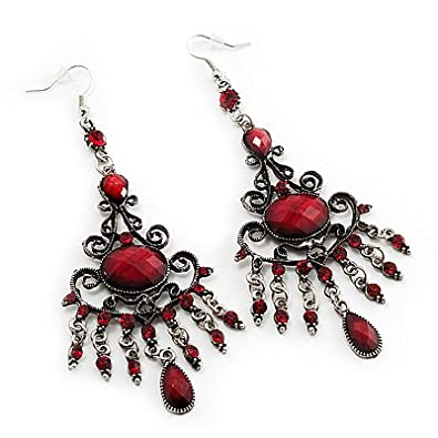 Antique Silver Ruby Red Crystal Chandelier Earrings - 11cm Length ...
