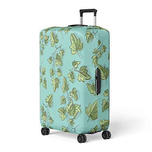 Semtomn Luggage Cover Green Graphic Ivy Twig Abstract Beautiful Border Botanic Branch Travel Suitcase Cover Protector Baggage Case Fits 26-28 - Twig Ivy
