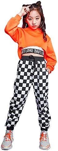 子供 ヒップホップ ジャズダンス 衣装 キッズ ダンス 衣装 ヒップホップ チアガール へそ出し 女の子 男の子 ヒップホップ チェック ダンス衣装 セットアップ パンツトップス ストリート ダンスウェア ジャズ hiphop jazz (トップスだけ,170)