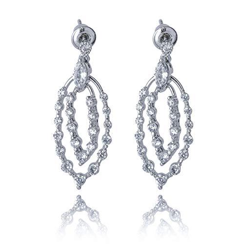 Earrings Dangle Cz - Women Dangle Threader Earrings S925 sterling silver pin Cubic Zirconia Drop Earrings X006S