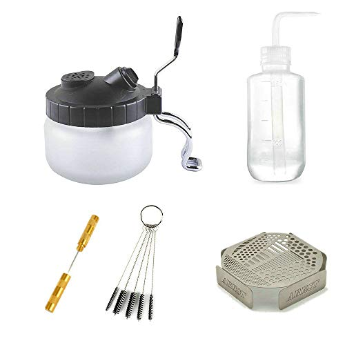 HUBEST 5 Sets Multi Purpose Airbrush Brush Holder Washing Cleaning Glass Pot Jar Oil Painting Brush Pen Washing Support Cleaning Brush Nozzle Repair Tools Plastic Bottle