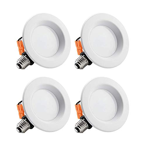 TORCHSTAR 4 Pack 4 Inch LED Downlight with Smooth Trim, Dimmable, 10W (65W Replacement), Retrofit LED Recessed Lighting Fixture, 2700K Soft White, CRI90+, ENERGY STAR & ETL Listed LED Ceiling Light