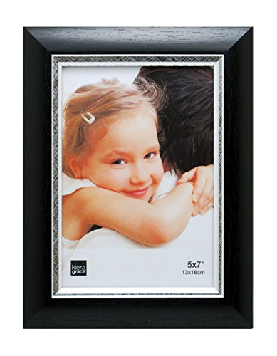 Kiera Grace Karla Picture Frame, 5  by  7 Inch, Black with Brushed Silver Line