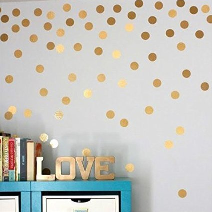 "Amaonm Set of 108pcs 1.6"" Removable Gold Metallic Vinyl Polka Dot Wall Decor Wall Decals Round Circle Dots Art Peel & Stick Wall Stickers for KidsGirls room Nursery room Bedroom Living room"